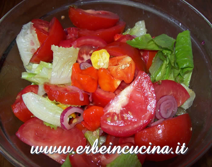 Aji chilies and tomatoes salad