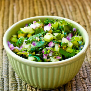 Tomatillo Salsa with Roasted Green Chile, Cilantro, and Lime