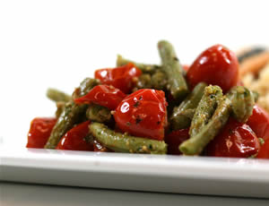 Roasted Green Beans and Tomatoes with Parsley Pesto