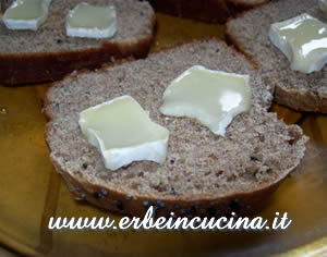 Dark bread with Brie slices