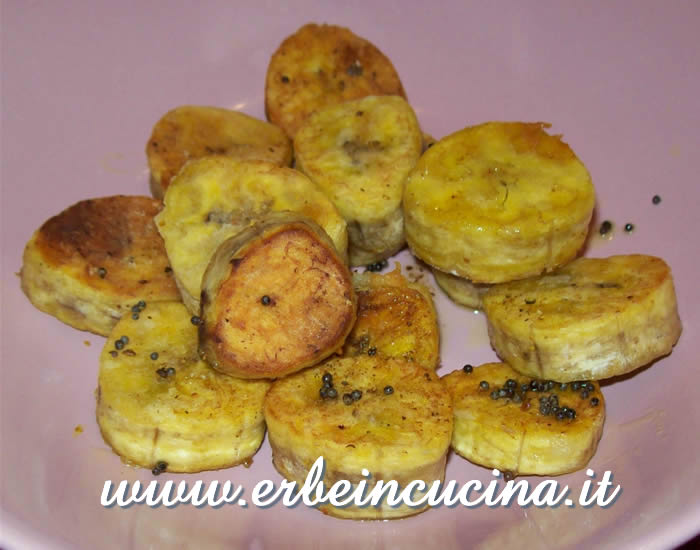 Fried plantain with mustard seeds