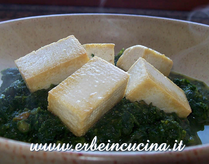 Fried tofu with ginger spinach
