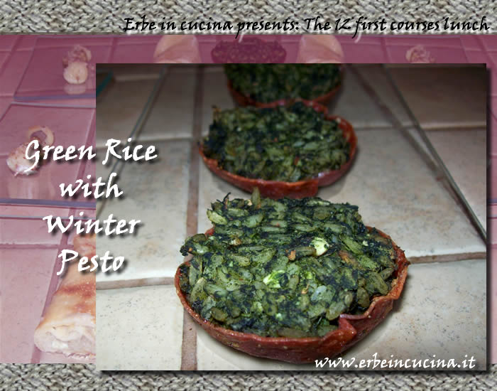 Green rice with winter pesto