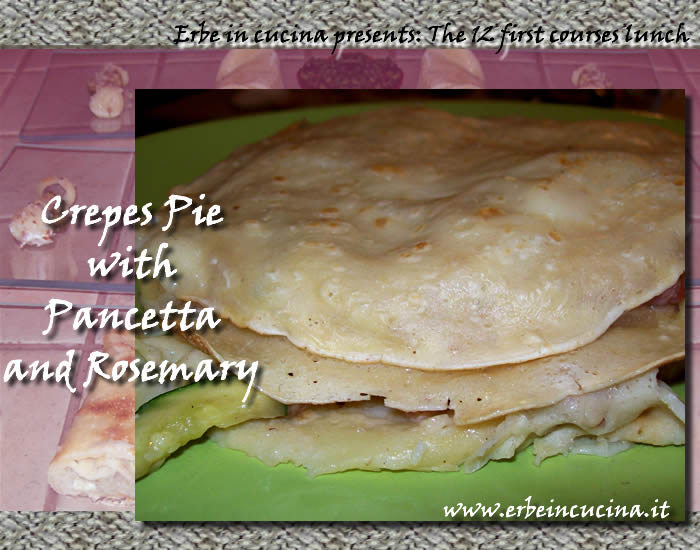 Crepes pie with pancetta and rosemary