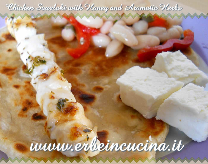 Chicken souvlaki with honey and aromatic herbs