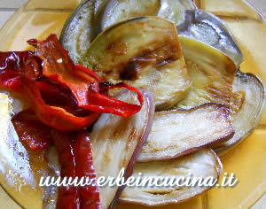 Fried aubergines and Senise pepper