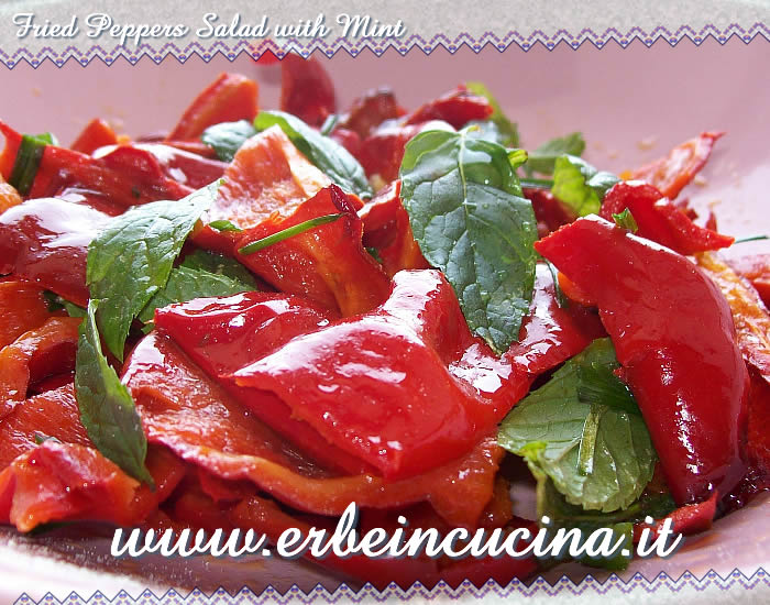 Fried peppers salad with mint