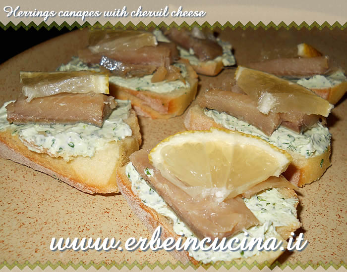 Herrings canapes with chervil cheese