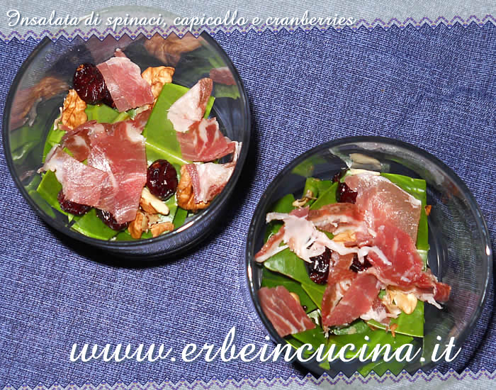 Insalata di spinaci, capicollo e cranberries